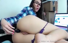Hot Nerd Toys Tight Ass On Webcam