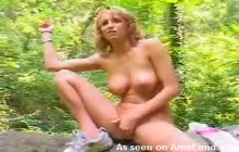 Girlfriend in the forrest showing her pussy